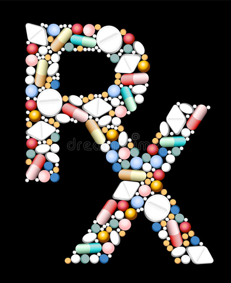 Símbolo médico de las prescripciones RX stock de ilustración