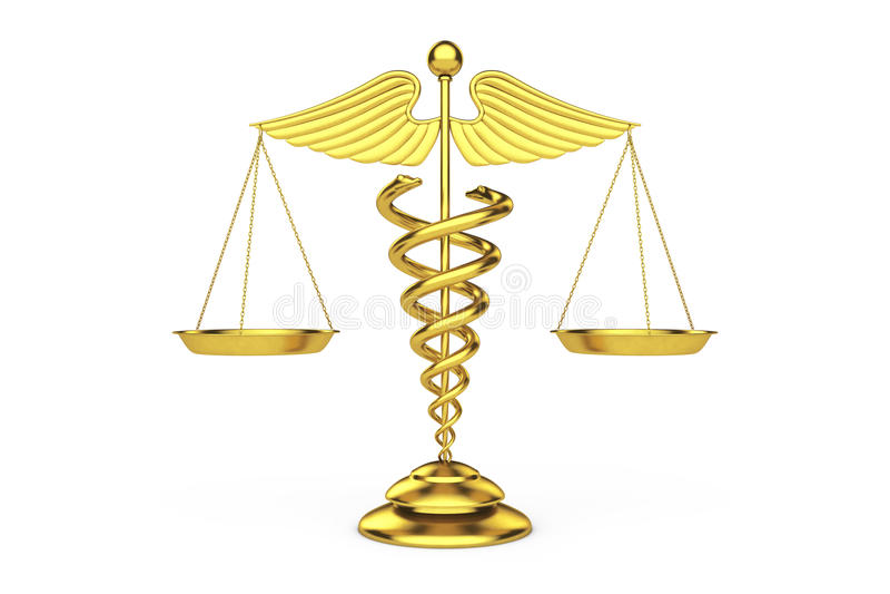 Símbolo médico de oro del caduceo como escalas representación 3d libre illustration