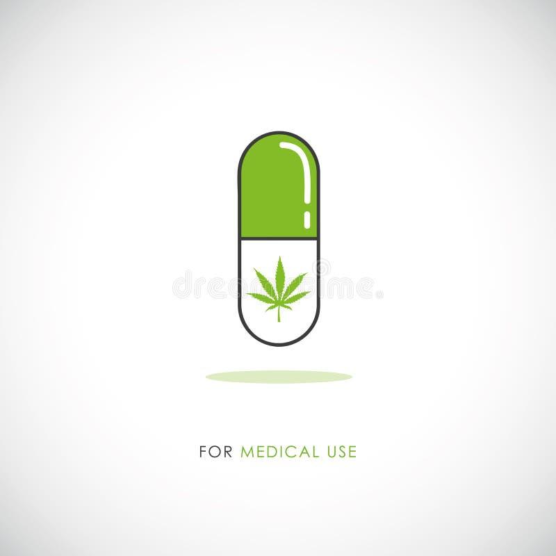 Símbolo médico del cáñamo del icono de la píldora de la marijuana stock de ilustración