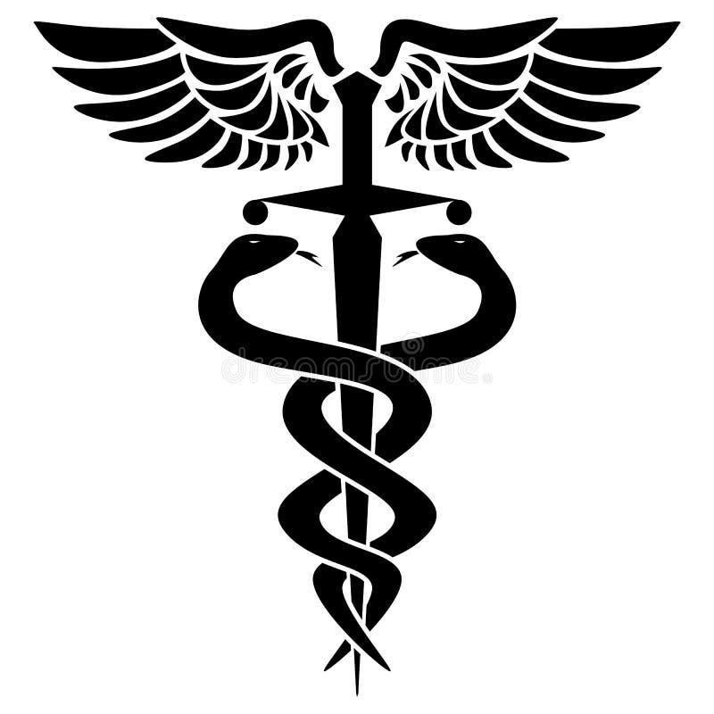 Símbolo médico del caduceo, con dos serpientes, espadas y alas, ejemplo del vector libre illustration
