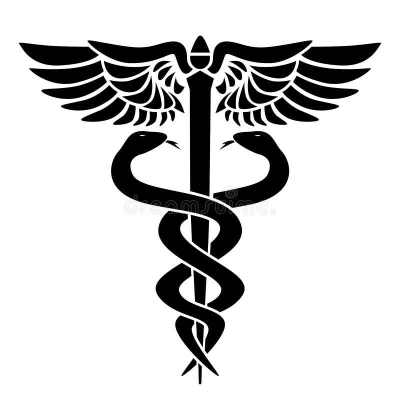 Símbolo médico del caduceo, con dos serpientes, personales y alas, ejemplo del vector ilustración del vector