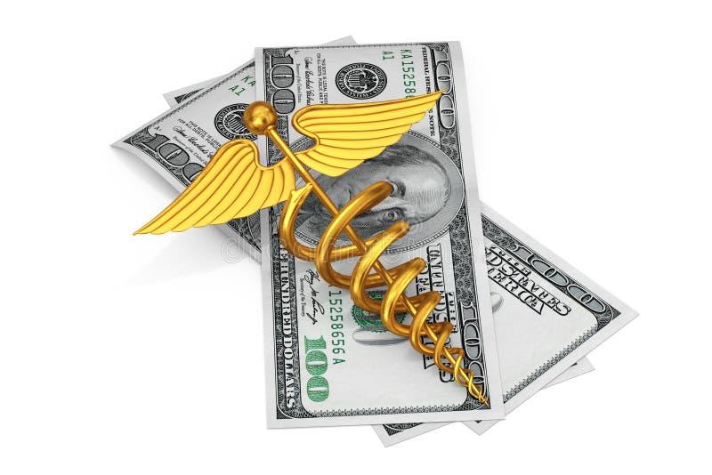 Símbolo médico del caduceo del oro sobre cuentas de dólares de los E.E.U.U. renderin 3D ilustración del vector