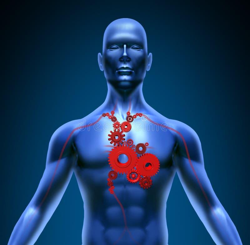 Símbolo médico del corazón de la función de los engranajes humanos de las válvulas stock de ilustración
