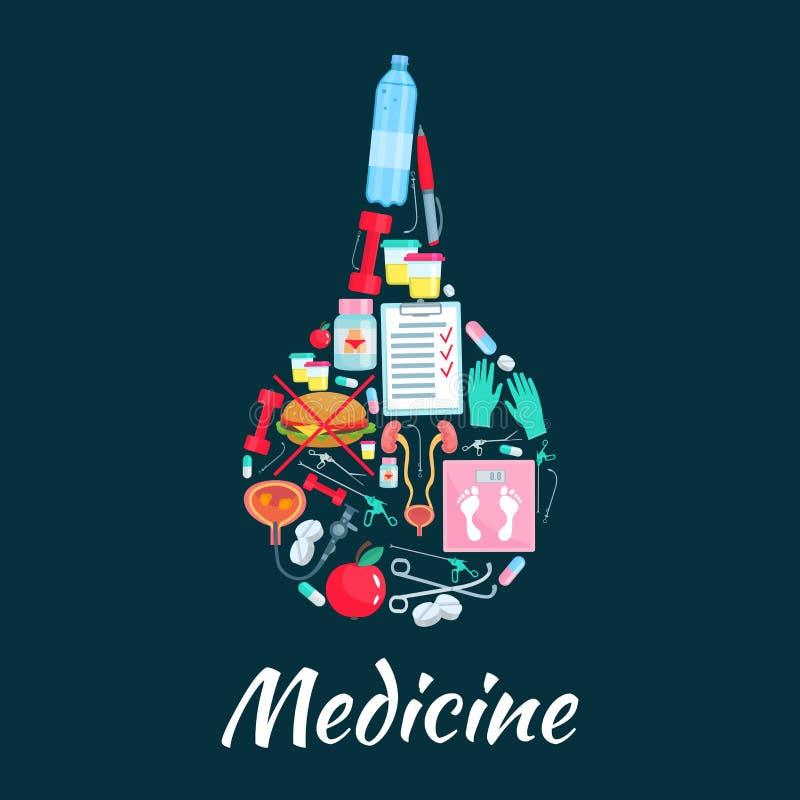 Símbolo médico del enema con los iconos de la medicina de la dietética stock de ilustración