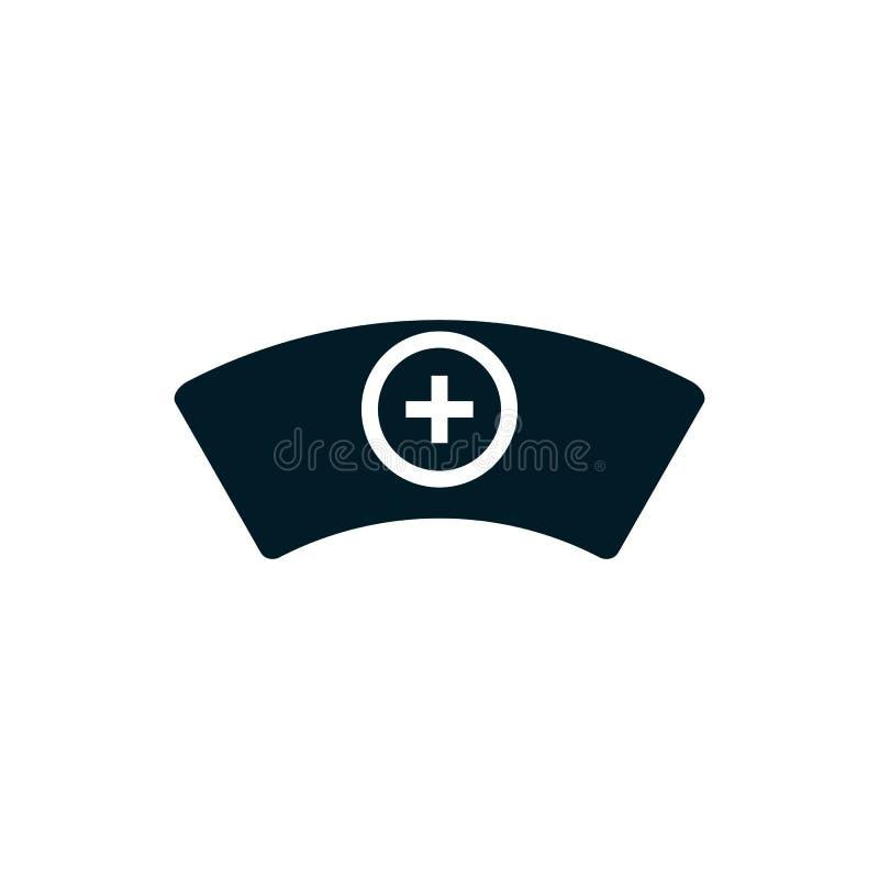 Símbolo médico del icono del sombrero de la enfermera ilustración del vector
