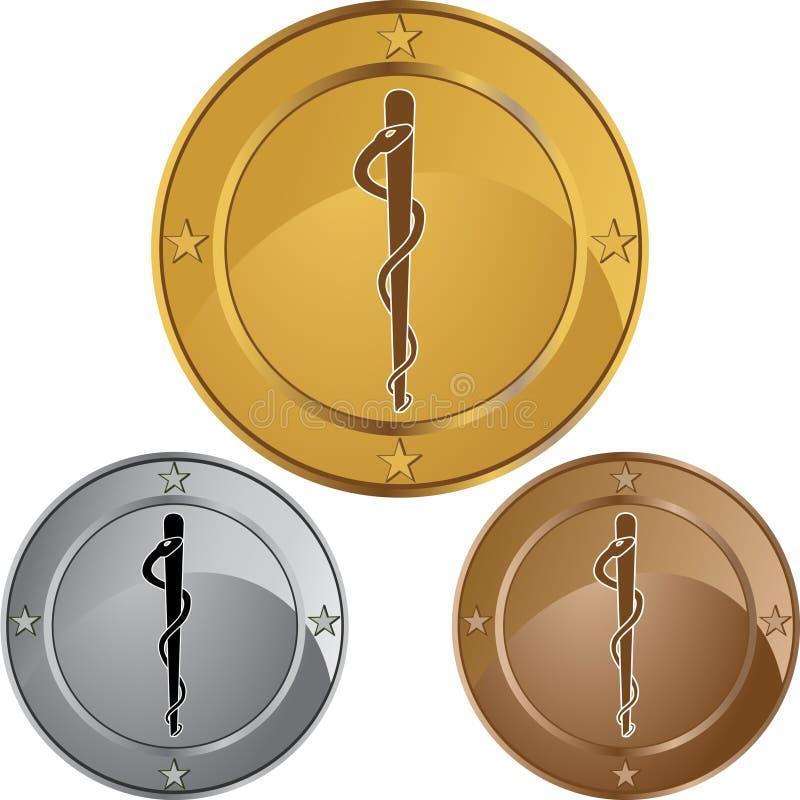 Símbolo médico do Caduceus - única serpente redonda ilustração do vetor