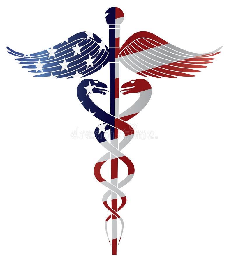 Símbolo médico do Caduceus com ilustração da bandeira dos EUA
