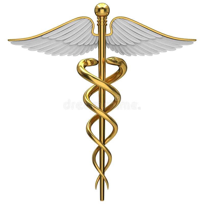 Símbolo médico do caduceus dourado ilustração stock