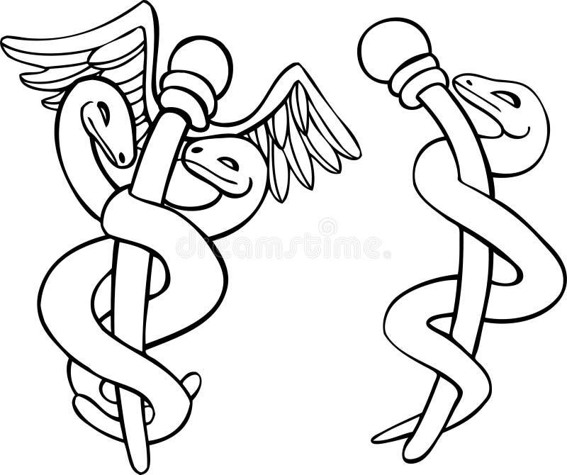 Símbolo médico do Caduceus - preto e branco ilustração stock