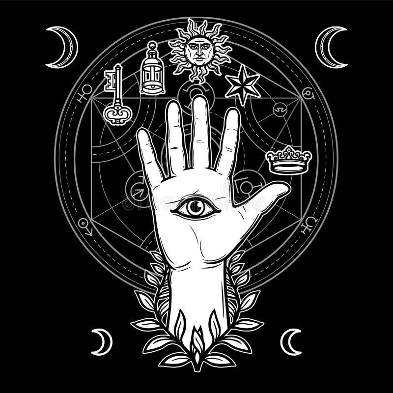 Símbolo místico: la mano humana en una guirnalda tiene un ojo divino todo-que ve ilustración del vector