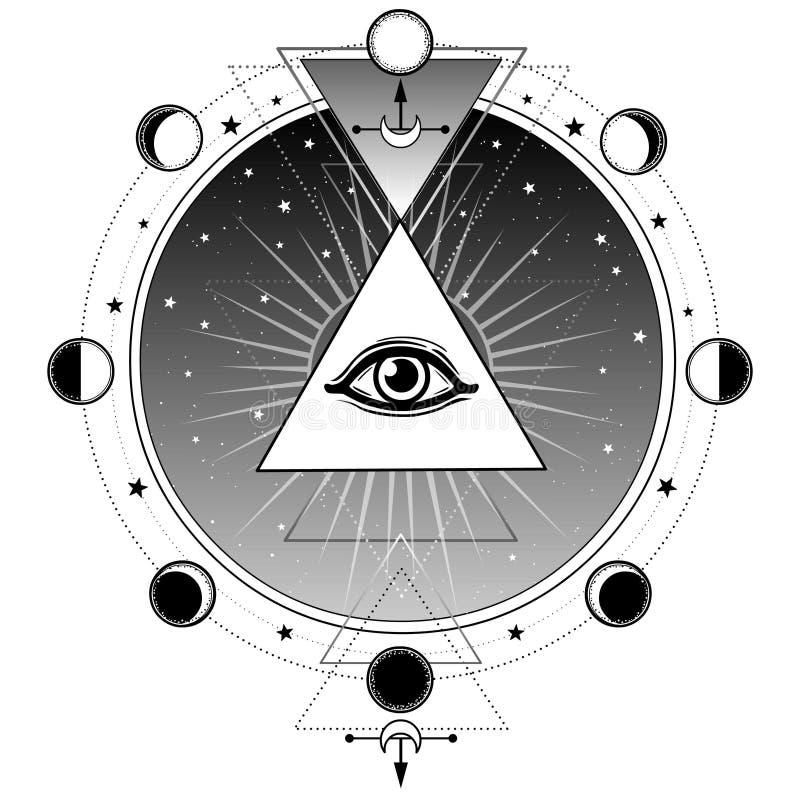 Símbolo místico: pirámide, todo-viendo el ojo Geometría sagrada ilustración del vector
