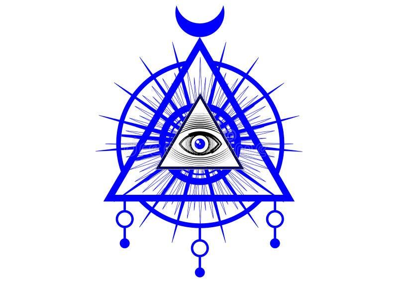 Símbolo maçônico sagrado Todo o olho de vista, o terceiro olho o olho do providência dentro da pirâmide do triângulo Ordem mundia ilustração stock
