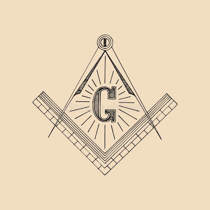 Símbolo maçônico do quadrado e do compasso, emblema, logotipo Ilustração do vetor da maçonaria ilustração do vetor