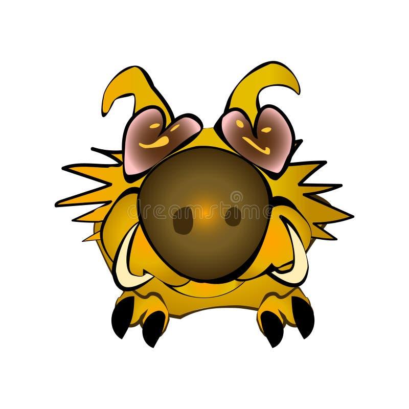 Símbolo macio bonito amarelo 2019 do javali no calendário lunar chinês Caráter do javali africano Porco de assento da ilustração  ilustração royalty free