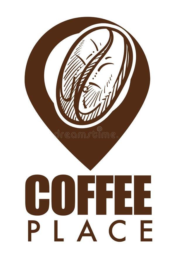 Símbolo maduro aislado lugar de la haba y del geolocation del icono del café libre illustration