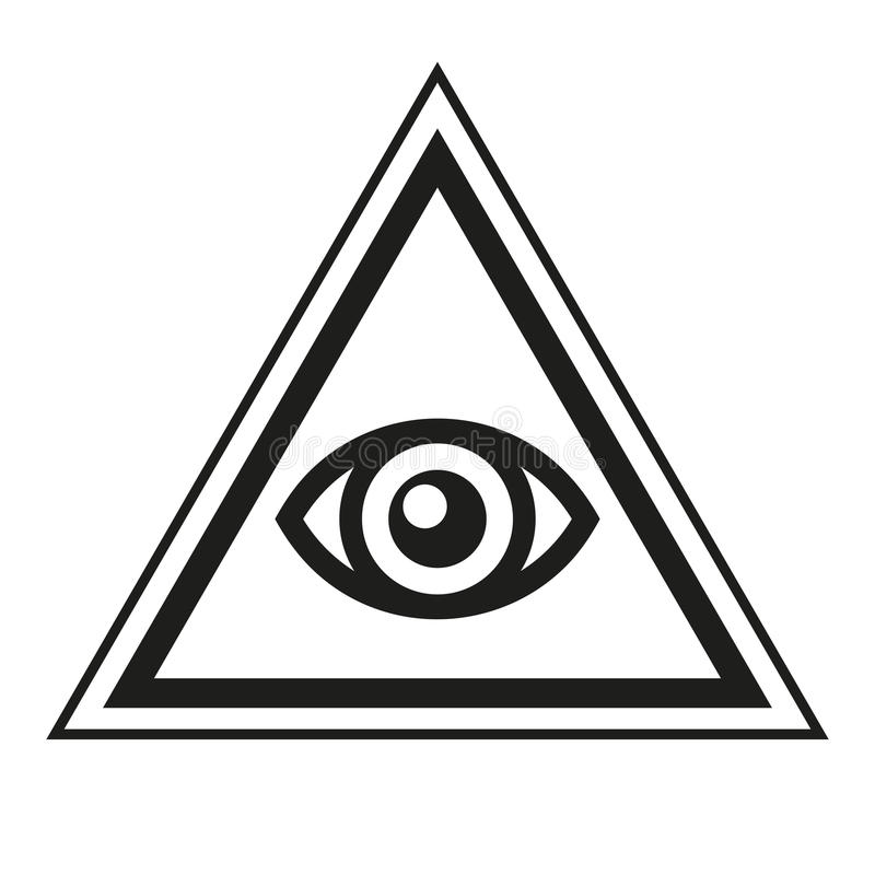 Símbolo masónico Todo el ojo que ve dentro del icono del triángulo de la pirámide Vector stock de ilustración