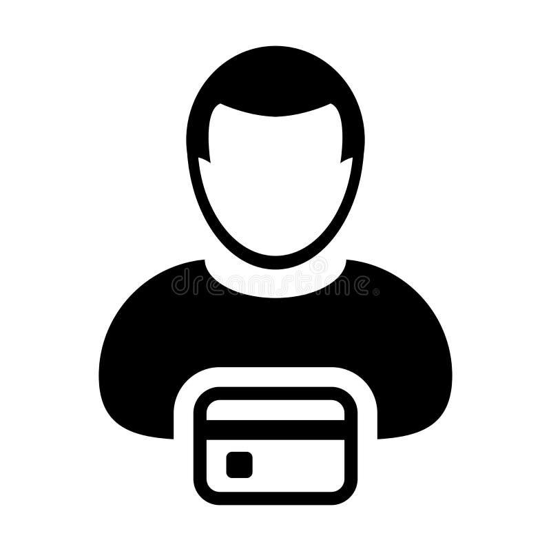 Símbolo masculino del avatar del perfil de la persona del usuario del vector del icono del banco con la tarjeta de crédito para e ilustración del vector