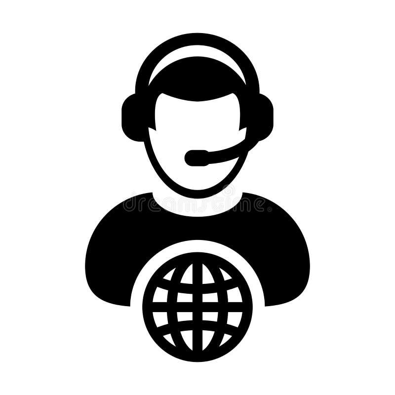 Símbolo masculino do perfil da pessoa do serviço ao cliente do vetor do ícone do Internet com os auriculares para o apoio em linh ilustração do vetor