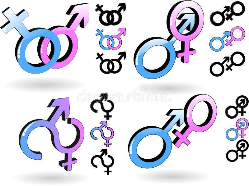Símbolo masculino e fêmea ilustração do vetor