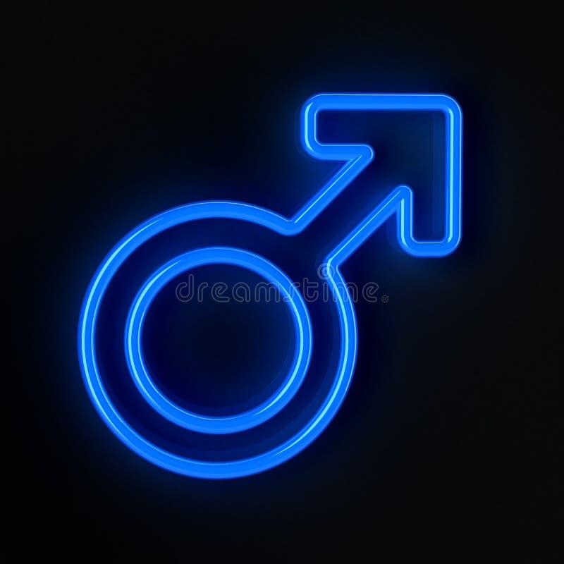 Símbolo masculino en el azul de neón ilustración del vector