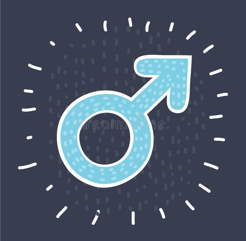 Símbolo masculino en oscuridad stock de ilustración