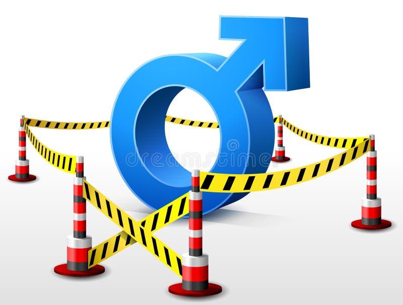 Símbolo masculino situado en área restricta stock de ilustración