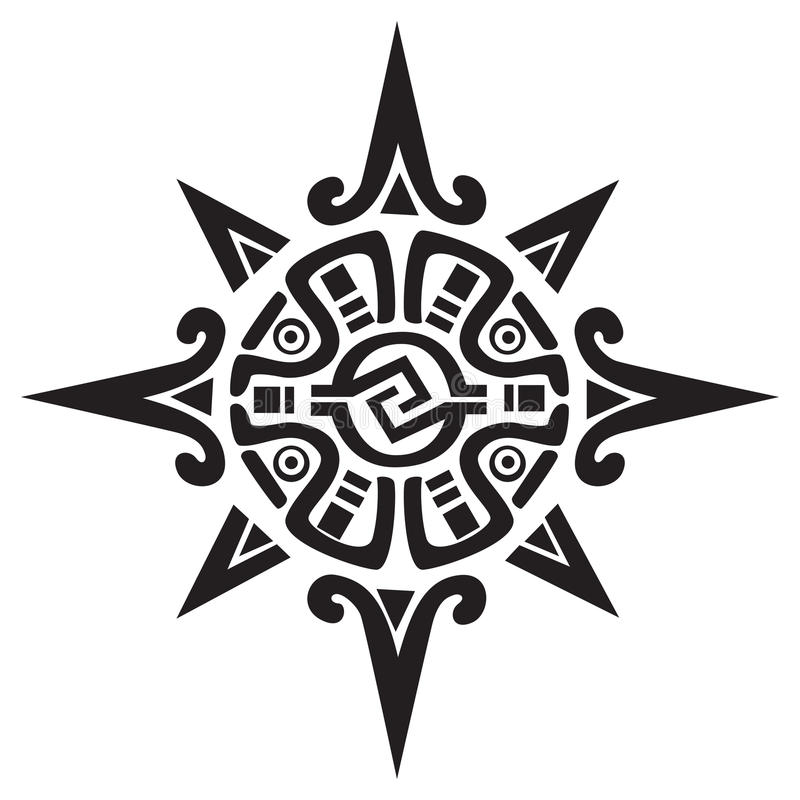 Símbolo maya o Incan de un sol o de una estrella ilustración del vector