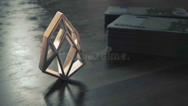 Símbolo metálico do cryptocurrency do Eos ilustra??o 3D ilustração stock