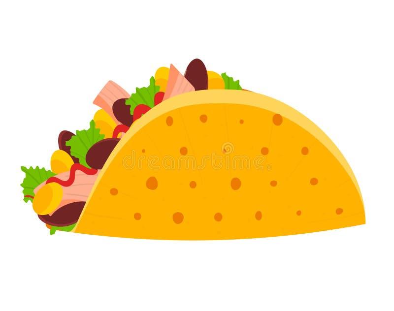 Símbolo mexicano colorido lindo del taco ilustración del vector