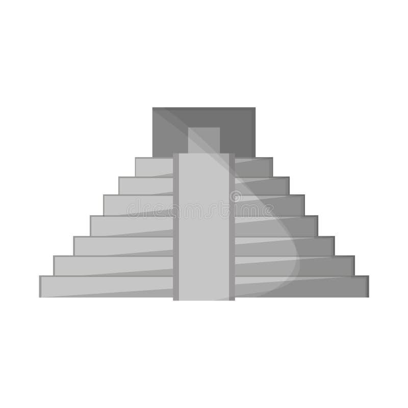 Símbolo mexicano del edificio de la pirámide stock de ilustración