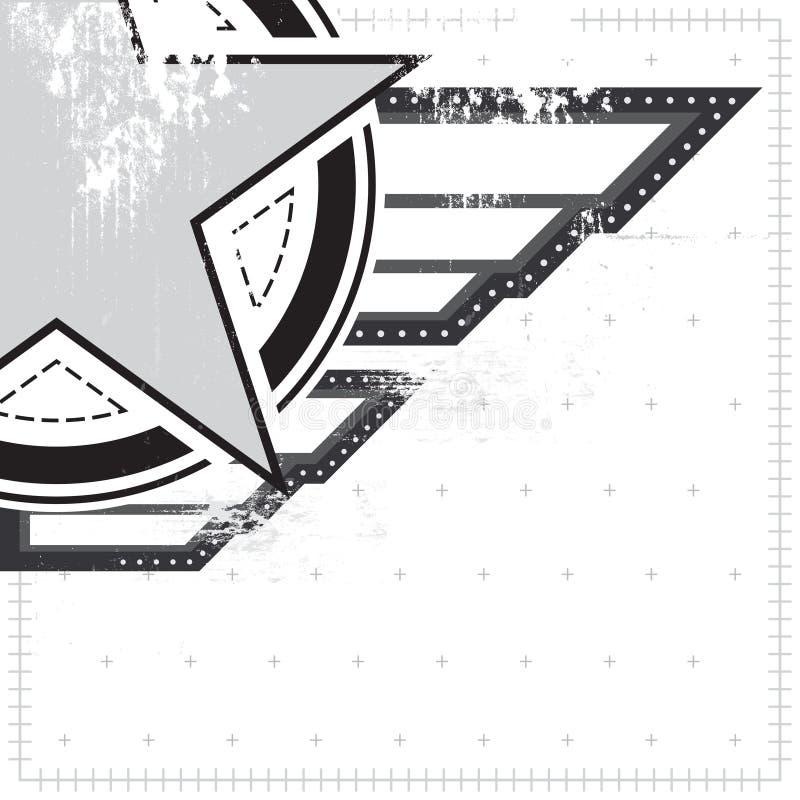 Símbolo militar com grunge ilustração do vetor
