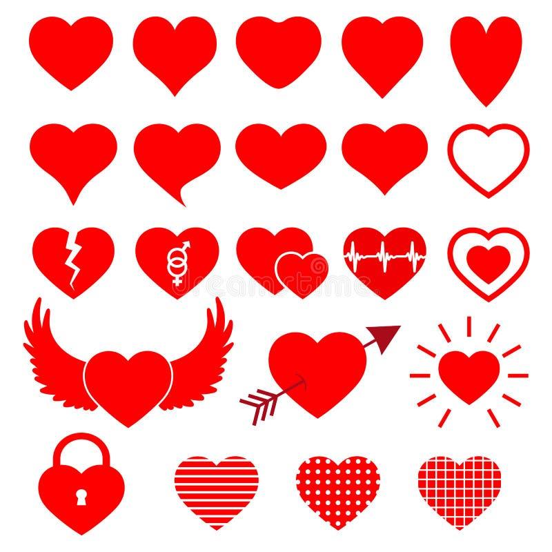 Símbolo moderno aislado del corazón para la farmacia de la cardiología y el centro médico Sistema de los iconos del logotipo del  libre illustration