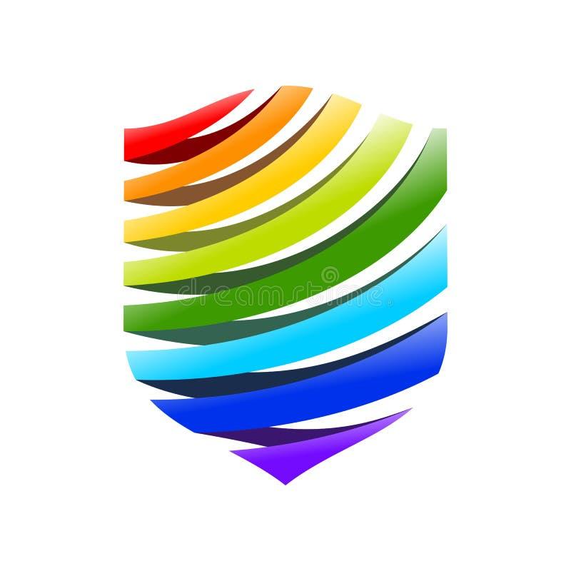 Símbolo moderno Logo Design do protetor da fonte do arco-íris ilustração do vetor