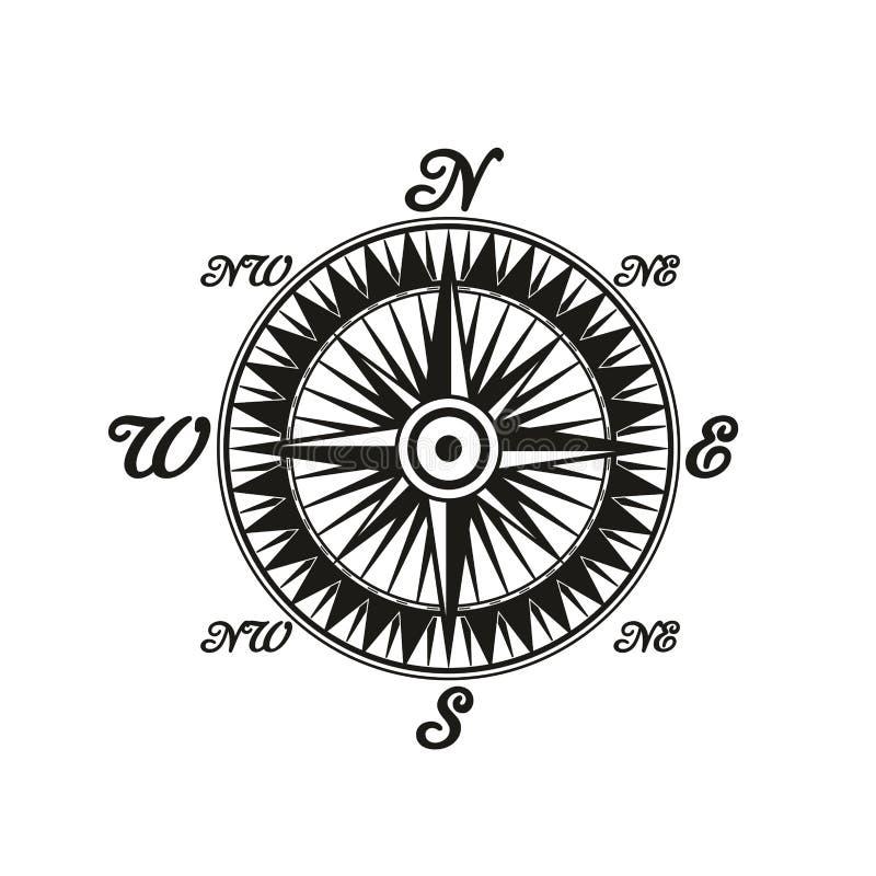 Símbolo monocromático do vintage do compasso com lados do mundo ilustração do vetor