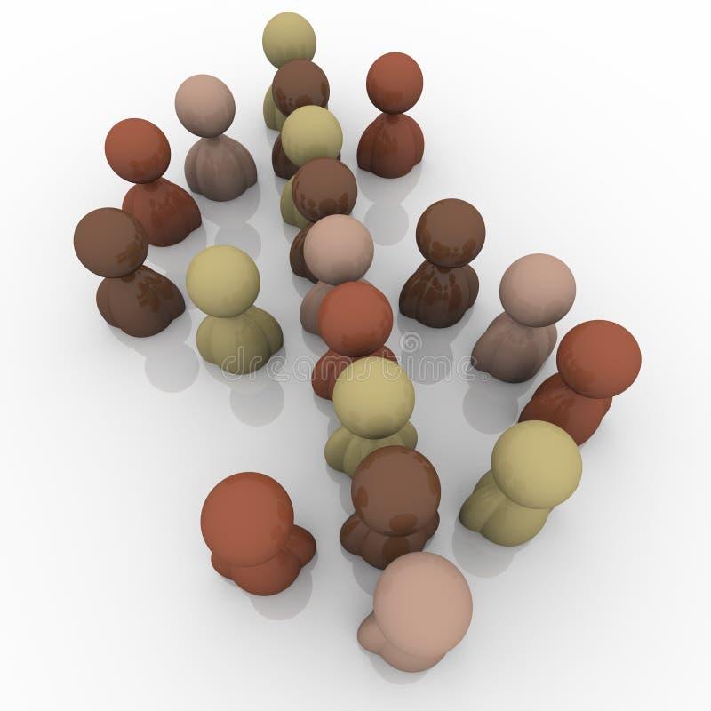 Símbolo multicultural da economia do sinal de dólar dos povos da diversidade ilustração do vetor