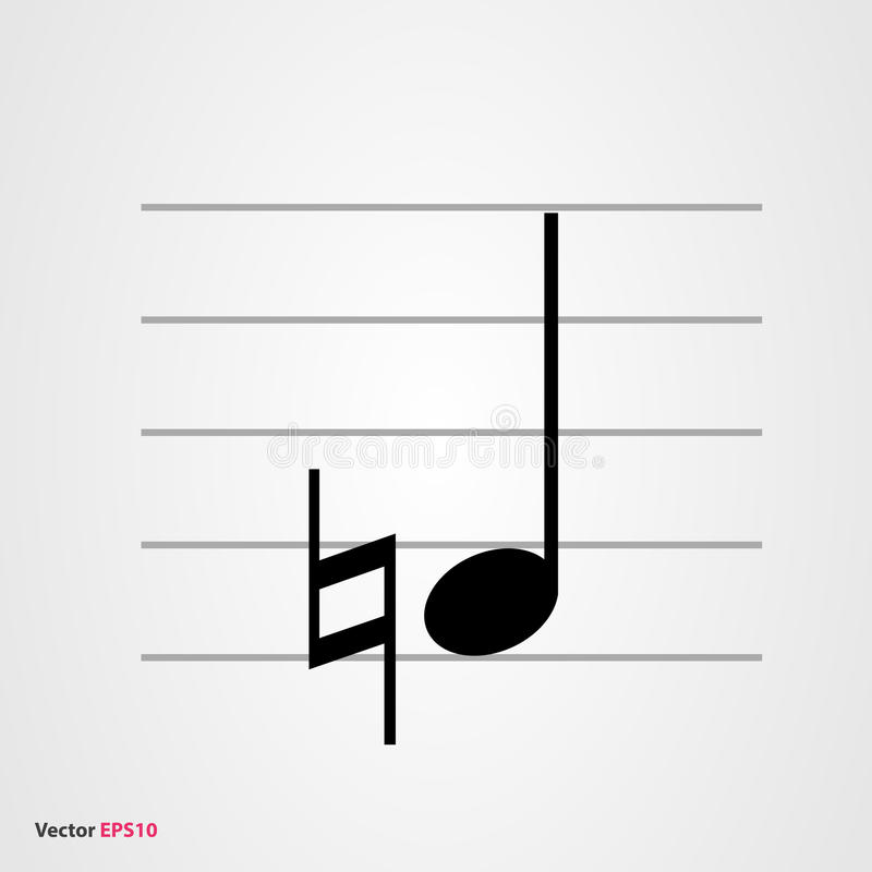 Símbolo Musical Natural Con La Nota Cuarta Stock de ilustración ...