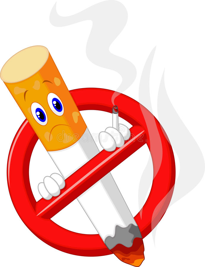 Símbolo não fumadores dos desenhos animados ilustração royalty free
