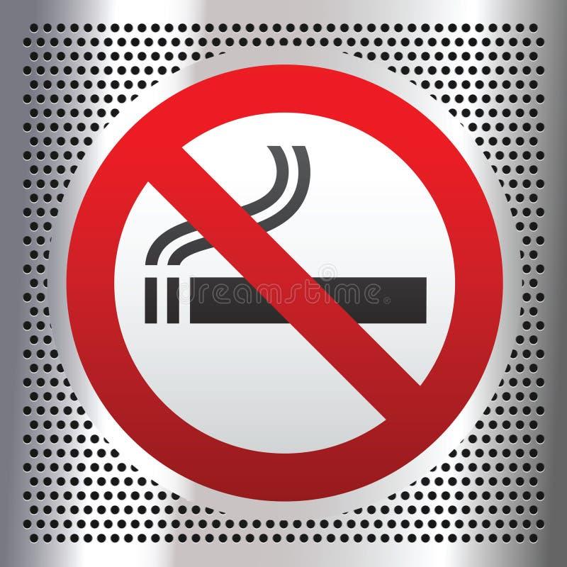 Símbolo não fumadores em um fundo do cromo ilustração do vetor