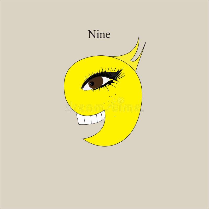 Símbolo número nueve de la historieta libre illustration