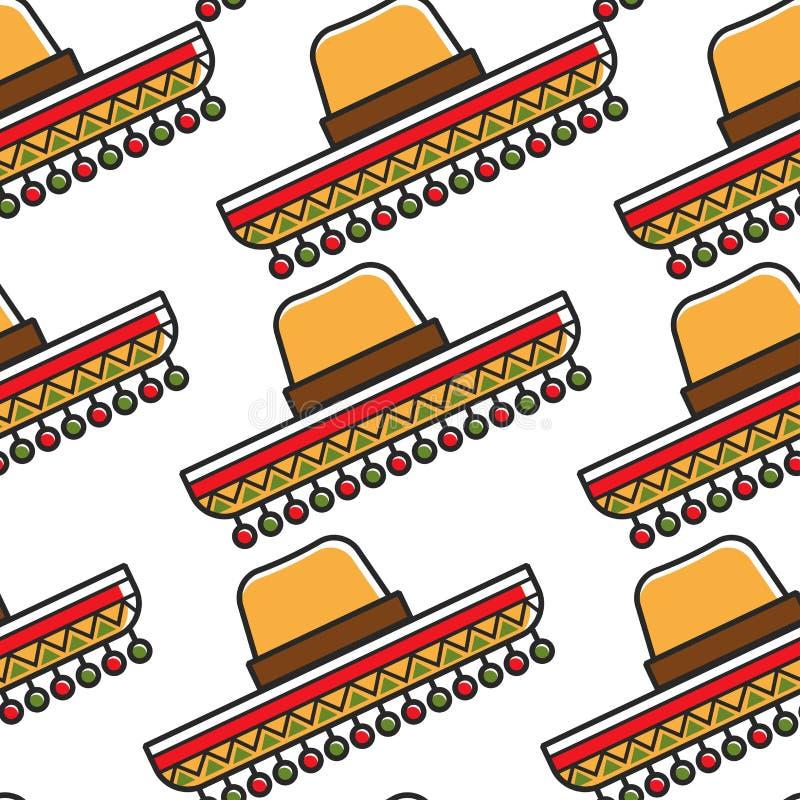 Símbolo nacional del modelo inconsútil del sombrero mexicano del sombrero stock de ilustración