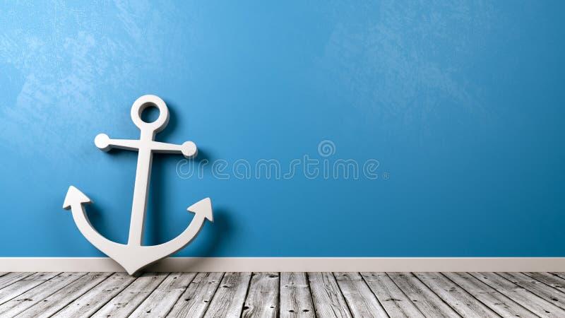 Símbolo naval del ancla en piso de madera ilustración del vector