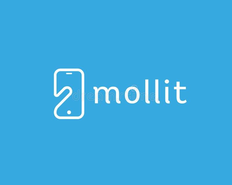 Símbolo negativo del logotipo del espacio del teléfono elegante Móvil del monitor del finger de la pantalla táctil stock de ilustración