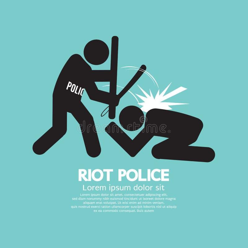 Símbolo negro de la policía antidisturbios stock de ilustración