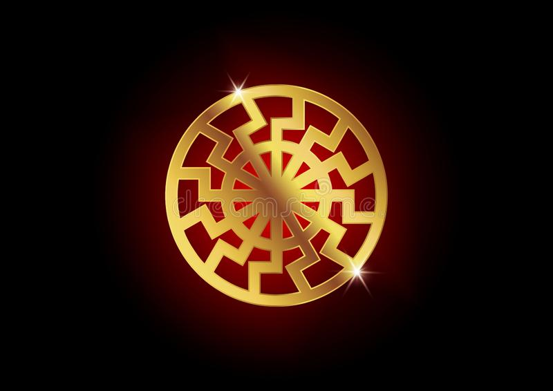 Símbolo negro de Sun Sonnenrad, muestra de la rueda del sol La muestra esotérica europea antigua Forma del círculo del elemento d ilustración del vector