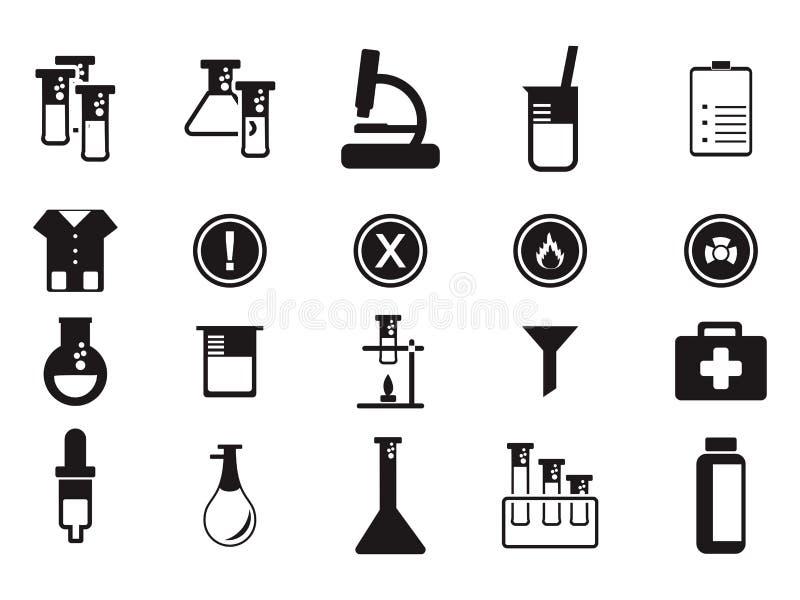 Símbolo negro del icono del equipo de la educación de la investigación de la ciencia del laboratorio ilustración del vector