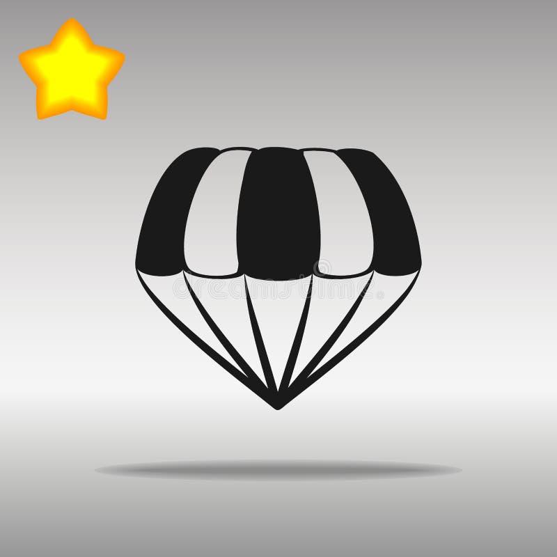 Símbolo Negro Del Logotipo Del Botón Del Icono Del Paracaídas ...