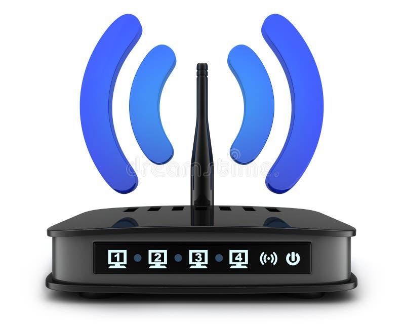 Símbolo negro del transmiter de Wi-Fi ilustración del vector