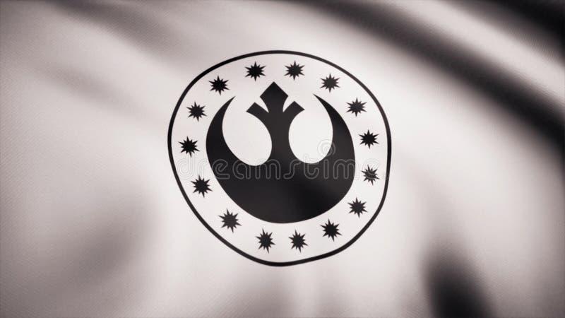 Símbolo novo da república de Star Wars na bandeira O tema dos Star Wars Uso do editorial somente ilustração do vetor