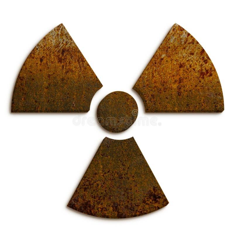 Símbolo nuclear del peligro de la radiación ionizante radiactiva hecho de textura sucia del metal oxidado y en backgroun blanco i fotografía de archivo
