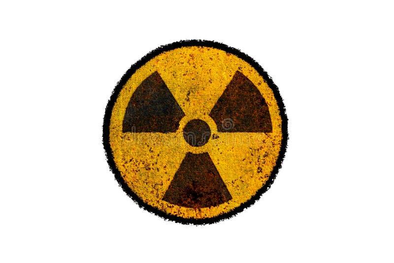 Símbolo nuclear radioativo amarelo e preto redondo do perigo da radiação ionizante na textura suja do metal oxidado ilustração royalty free